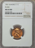 1961-D/D 1C D Over Horizontal D, FS-501 MS65 Red NGC. NGC Census: (0/0). PCGS Population: (70/4)