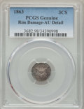 Three Cent Silver, 1863 3CS -- Rim Damage -- PCGS Genuine. AU Details. This lot will also include a: 1870 3CS -- Bent -- PCGS Genuine. AU D... (Total: 2 coins)