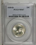Washington Quarters: , 1939-D 25C MS67 PCGS. PCGS Population (39/0). NGC Census: (47/0).Mintage: 7,092,000. Numismedia Wsl. Price: $600. (#5809)...