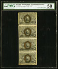 Fractional Currency:Second Issue, Fr. 1286 25¢ Second Issue Vertical Strip of Four PMG About Uncirculated 50.. ...