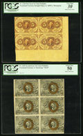 Fractional Currency:First Issue, Fr. 1230 5¢ First Issue Uncut Block of Four PCGS Very Fine 30. Fr.1245 10¢ Second Issue Uncut Block of Six PCGS About New... (Total:2 items)