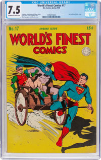 World's Finest Comics #17 (DC, 1945) CGC VF- 7.5 Off-white to white pages