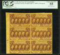 Fractional Currency:First Issue, Fr. 1281 25¢ First Issue Uncut Block of Six PCGS Choice About New 55.. ...