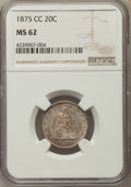 Twenty Cent Pieces, 1875-CC 20C MS62 NGC. BF-4, R.2....