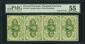 Fractional Currency:First Issue, Fr. 1242 10¢ First Issue Vertical Strip of Four PMG About Uncirculated 55.. ...