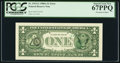 Error Notes:Third Printing on Reverse, Fr. 1915-G $1 1988A Federal Reserve Note. PCGS Superb Gem New 67PPQ.. ...