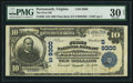 National Bank Notes:Virginia, Portsmouth, VA - $10 1902 Plain Back Fr. 626 The First NB Ch. #(S)9300. ...
