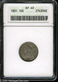 """Bust Dimes: , 1831 10C XF40 ANACS. The current Coin Dealer Newsletter (Greysheet)wholesale """"bid"""" price is $200.00...."""