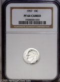 Proof Roosevelt Dimes: , 1957 10C PR 64 Cameo NGC. ...