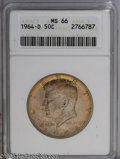 Kennedy Half Dollars: , 1964-D 50C MS66 ANACS. ...