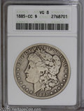 """Morgan Dollars: , 1885-CC $1 VG8 ANACS. The current Coin Dealer Newsletter (Greysheet) wholesale """"bid"""" price is $340.00...."""