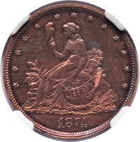 1874 20C Twenty Cents, Judd-1355, Pollock-1499, Low R.6, Brown -- Improperly Cleaned -- Details NGC. Proof. NGC Census:...