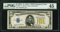 Small Size:World War II Emergency Notes, Fr. 2307* $5 1934A North Africa Silver Certificate. PMG ChoiceExtremely Fine 45.. ...
