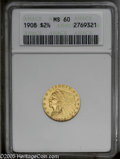 "1908 $2 1/2 MS60 ANACS. The current Coin Dealer Newsletter (Greysheet) wholesale ""bid"" price is $215.00....(PC..."