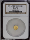 California Fractional Gold: , 1874/7874 25C Liberty Octagonal 25 Cents, BG-776, Low R.5, MS62Prooflike NGC....