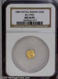 California Fractional Gold: , 1880 25C Indian Octagonal 25 Cents, BG-799L, High R.5, MS64Prooflike NGC....
