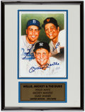 Autographs:Photos, Duke Snider, Willie Mays and Mickey Mantle Multi-Signed PrintDisplay. . ...