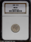 Three Cent Nickels: , 1882 3CN MS62 NGC. Pop: (P 2/70, N 1/36). Mintage: 22,200. Numismedia Wsl. Price: $275....