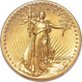 High Relief Double Eagles, 1907 $20 High Relief, Wire Edge -- Cleaned -- PCGS Genuine. Unc Details....