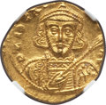 Ancients:Byzantine, Ancients: Tiberius III Apsimar (AD 698-705). AV solidus (4.23 gm).NGC MS 4/5 - 3/5, clipped....