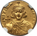 Ancients:Byzantine, Ancients: Justinian II, first reign (AD 685-695). AV solidus (4.46gm). NGC MS 4/5 - 4/5....