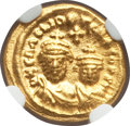 Ancients:Byzantine, Ancients: Heraclius (AD 610-641) and Heraclius Constantine (AD613-641).AV solidus (4.47 gm). NGC Choice MS 4/5 - 5/5....