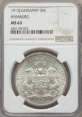 German States:Hamburg, German States: Hamburg. Free City 5 Mark 1913-J MS63 NGC,...