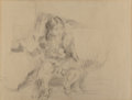 Fine Art - Work on Paper:Drawing, Jules Pascin (American, 1885-1930)La jeune ...