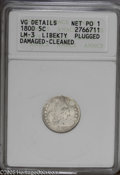 Early Half Dimes: , 1800 H10C LIBEKTY--Plugged, Damaged, Cleaned--ANACS, VG Details NetPoor 1. LM-3....