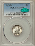 Mercury Dimes: , 1945-D 10C MS67 Full Bands PCGS. CAC. PCGS Population: (341/6). NGC Census: (354/12). CDN: $180 Whsle. Bid for problem-free...