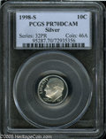 Proof Roosevelt Dimes: , 1998-S 10C Silver PR70 Deep Cameo PCGS. Pop: (P 30/0, N 126/0).Numismedia Wsl. Price: $220....