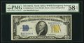Small Size:World War II Emergency Notes, Fr. 2309 $10 1934A North Africa Silver Certificate. PMG ChoiceAbout Unc 58 EPQ.. ...