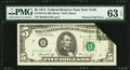 Error Notes:Foldovers, Fr. 1973-B $5 1974 Federal Reserve Note. PMG Choice Uncirculated 63EPQ.. ...
