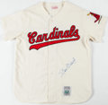 Baseball Collectibles:Uniforms, Stan Musial Signed Flannel Jersey and Cleats. ...