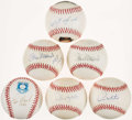 "Autographs:Baseballs, Hall of Fame ""3000 Hit"" Single Signed Baseballs Lot of 6...."