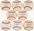 Autographs:Baseballs, Baseball Greats Single Signed Baseballs Lot of 8.. ...