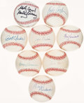 Autographs:Baseballs, Baseball Announcers/Executives Single Signed Baseballs Lot of 8....