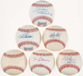 Autographs:Baseballs, Hall of Fame Single Signed Baseballs Lot of 6....