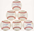 Autographs:Baseballs, Hall of Fame Pitching Greats Single Signed Baseballs Lot of 6. ...