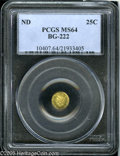 California Fractional Gold: , Undated 25C Liberty Round 25 Cents, BG-222, R.2, MS64 PCGS. Pop: (P95/14, N 0/0)....