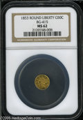 California Fractional Gold: , 1853 50C Liberty Round 50 Cents, BG-415, Low R.5, MS62 NGC. Pop: (P9/17, N 0/0)....