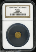 California Fractional Gold: , 1853 50C Liberty Round 50 Cents, BG-421, R.4, MS64 NGC. Pop: (P11/3, N 0/0)....