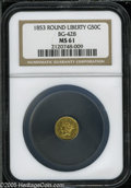 California Fractional Gold: , 1853 50C Liberty Round 50 Cents, BG-428, R.3, MS61 NGC. Pop: (P27/98, N 0/0)....