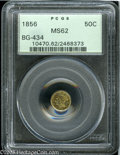 California Fractional Gold: , 1856 50C Liberty Round 50 Cents, BG-434, Low R.4, MS62 PCGS. Pop:(P 34/20, N 0/0)....