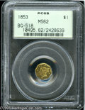 California Fractional Gold: , 1853 $1 Liberty Octagonal 1 Dollar, BG-518, R.5, MS62 PCGS. Pop: (P9/4, N 0/0)....