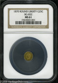 California Fractional Gold: , 1870 25C Liberty Round 25 Cents, BG-832, Low R.6, MS61 NGC. Pop: (P2/11, N 0/0)....