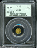 California Fractional Gold: , 1870 25C Liberty Round 25 Cents, BG-832, Low R.6, MS62 PCGS. Pop:(P 7/4, N 0/0)....