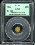 California Fractional Gold: , 1870 25C Liberty Round 25 Cents, BG-835, R.3, AU55 PCGS. Pop: (P25/160, N 0/0)....