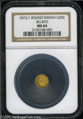 California Fractional Gold: , 1872/1 25C Indian Round 25 Cents, BG-870, R.3, MS64 NGC. Pop: (P65/13, N 0/0)....