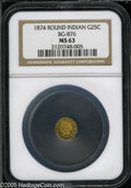 California Fractional Gold: , 1874 25C Indian Round 25 Cents, BG-876, Low R.4, MS63 NGC. Pop: (P24/47, N 0/0)....